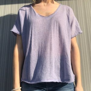 Waffle knit periwinkle vneck top